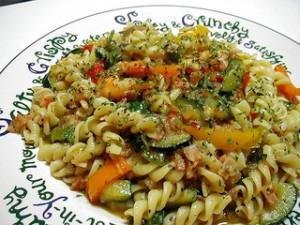 海老と野菜のパスタ