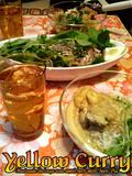 イエローカレー&エビと香草のなま酢サラダ