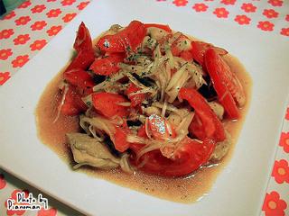 鶏肉と長ねぎの中華トマトサラダ