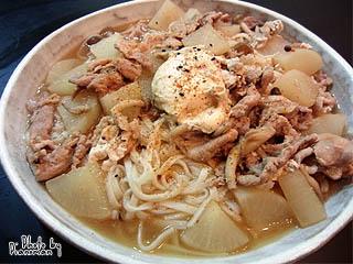 大根と豚肉の炒め煮うどん